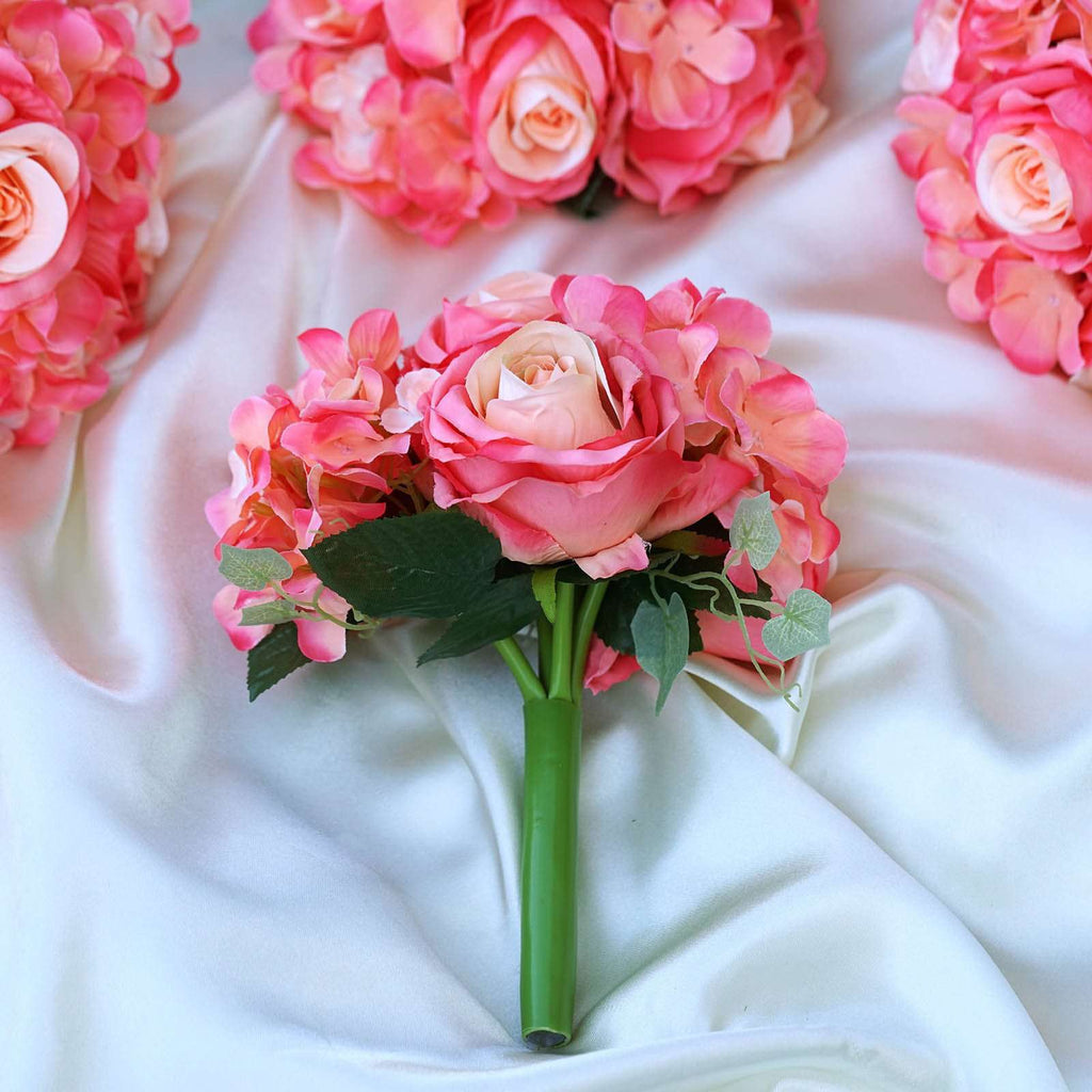 Coral Real Touch Artificial Rose & Hydrangea Flower Wedding Bridal Bouquet