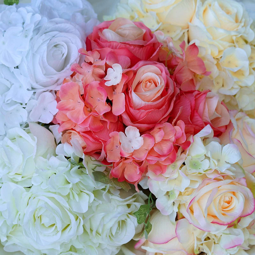 Pink Real Touch Artificial Rose & Hydrangea Flower Wedding Bridal Bouquet