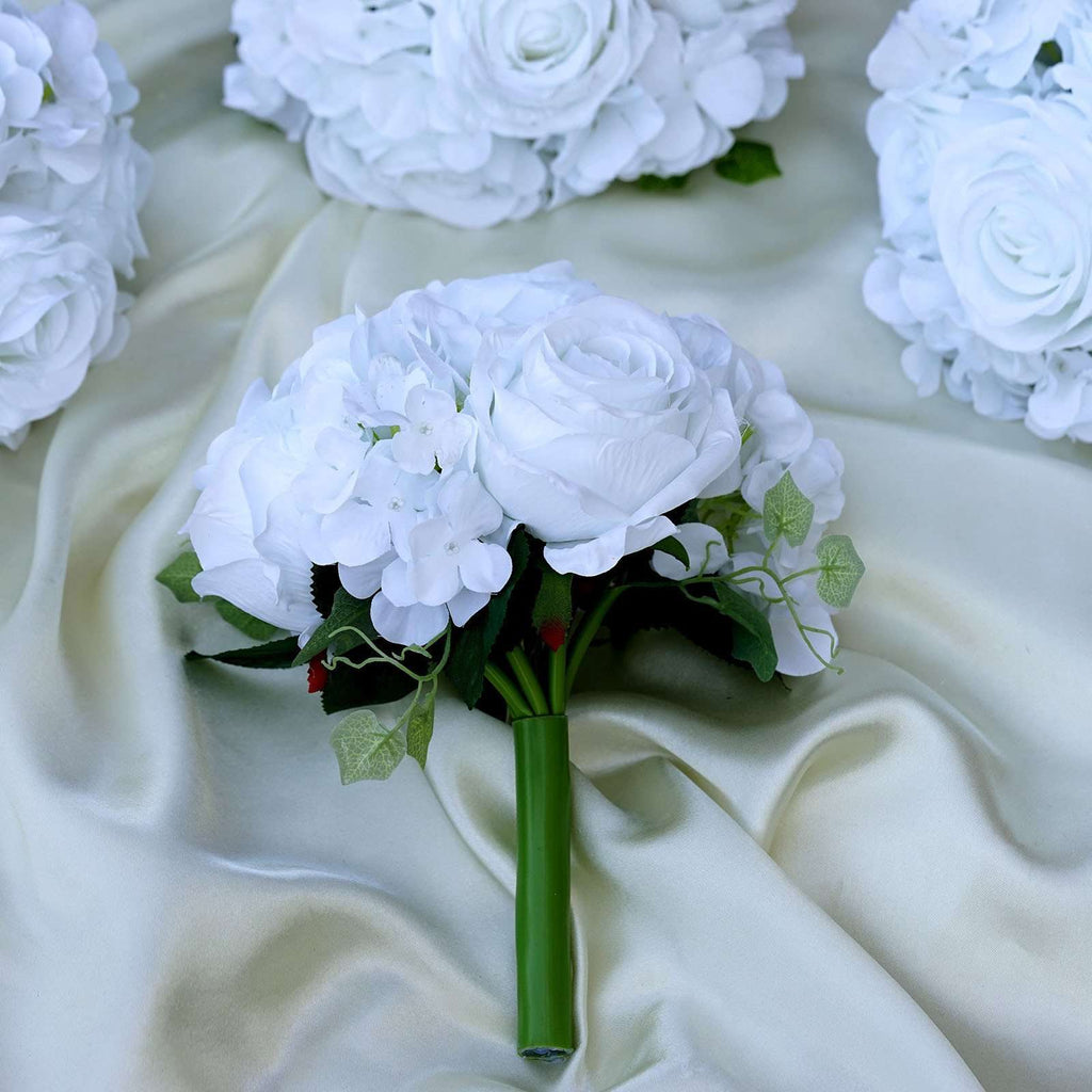 White Real Touch Artificial Rose & Hydrangea Flower Wedding Bridal Bouquet