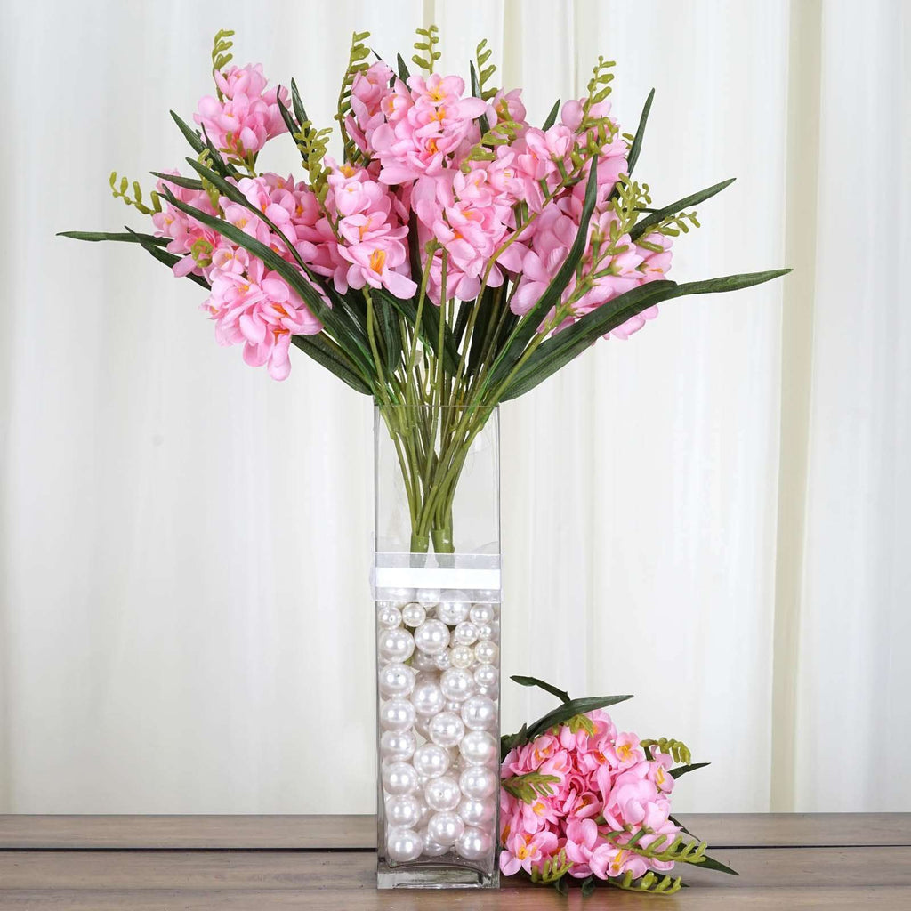 54 Artificial Freesia Flower Bushes Wedding Vase Centerpiece Decor - Pink