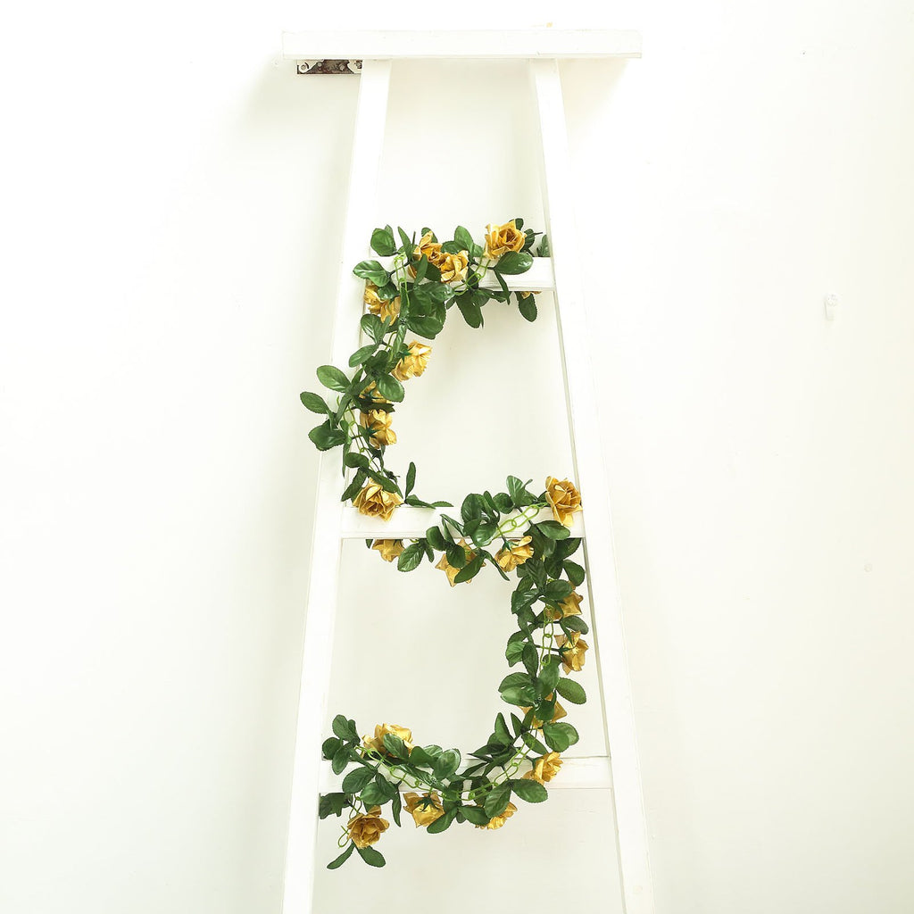 6 Ft Gold Rose Chain Garland UV Protected Artificial Flowers