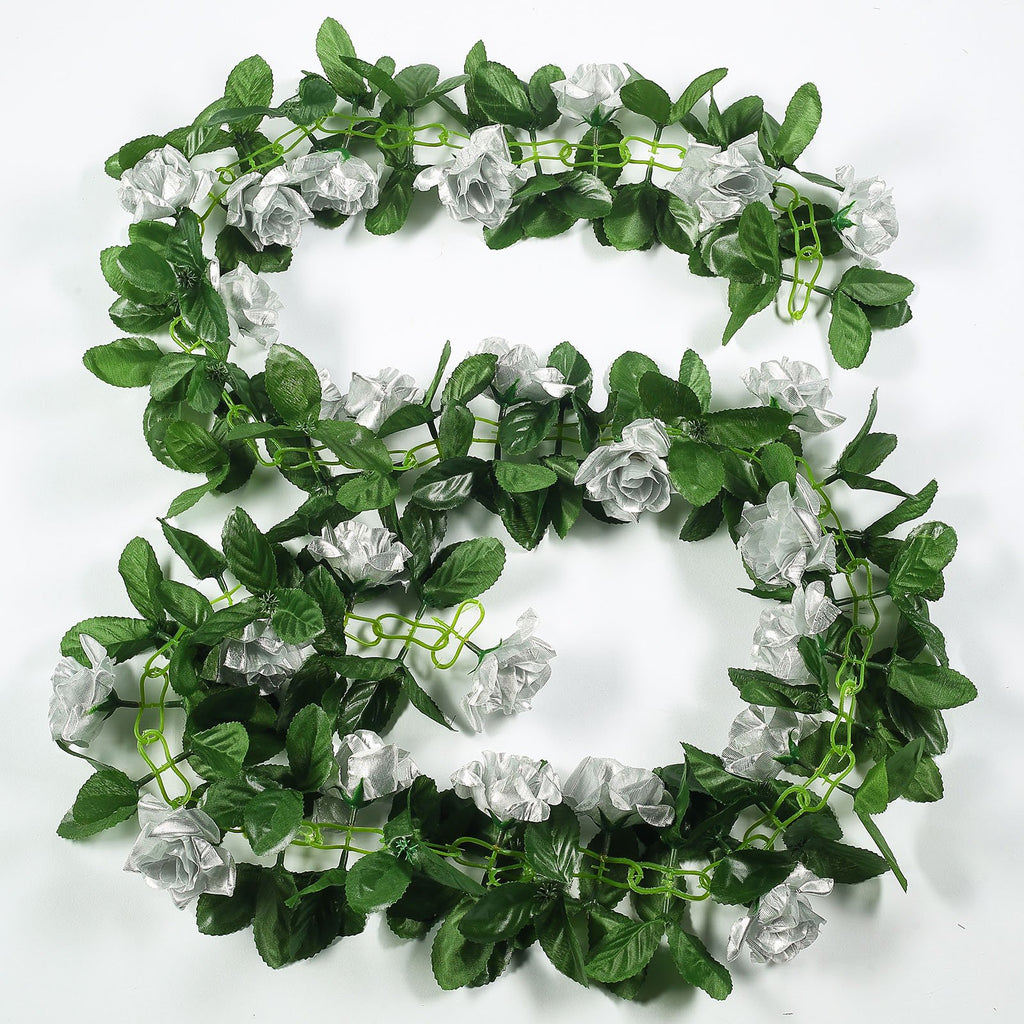 6 Ft Silver Rose Chain Garland UV Protected Artificial Flowers