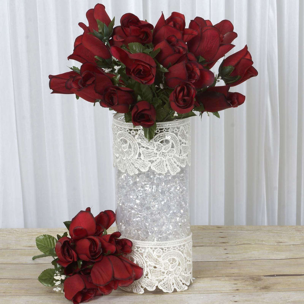 84 Wholesale Artificial Velvet Rose Buds Wedding Vase Centerpiece Decor - BLKRED