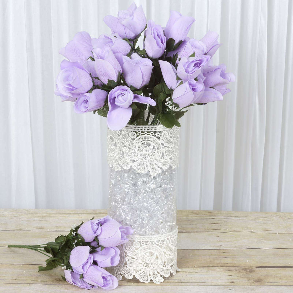 84 Wholesale Artificial Velvet Rose Buds Wedding Vase Centerpiece Decor - Lavender