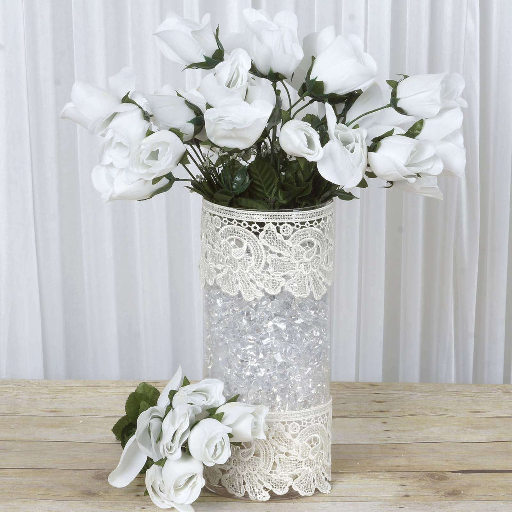 84 Wholesale Artificial Velvet Rose Buds Wedding Vase Centerpiece Decor - White