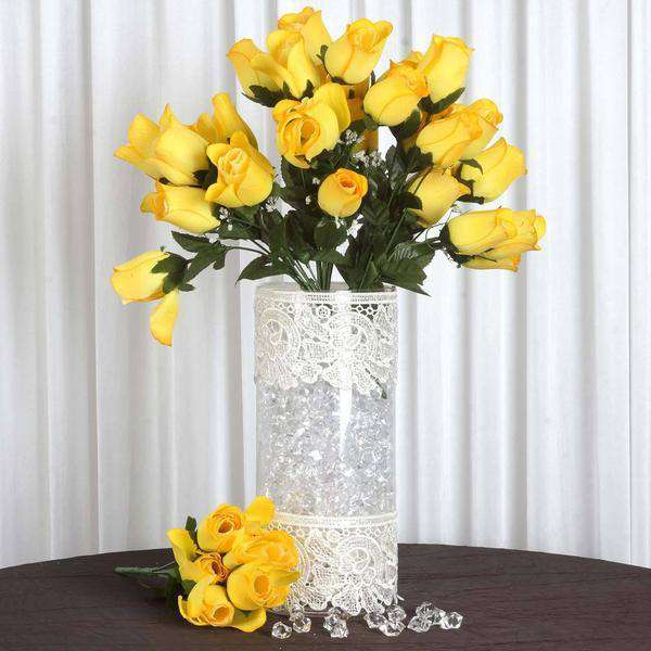 12 Bush 84 pcs Yellow Artificial Velvet Rose Bud Flowers Bridal Bouquet Wedding Decoration