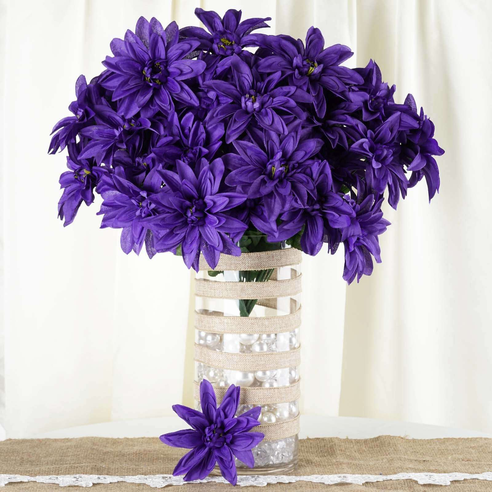 4 Bush 56 Pcs Purple Artificial Silk Dahlia Flower Bushes Wedding