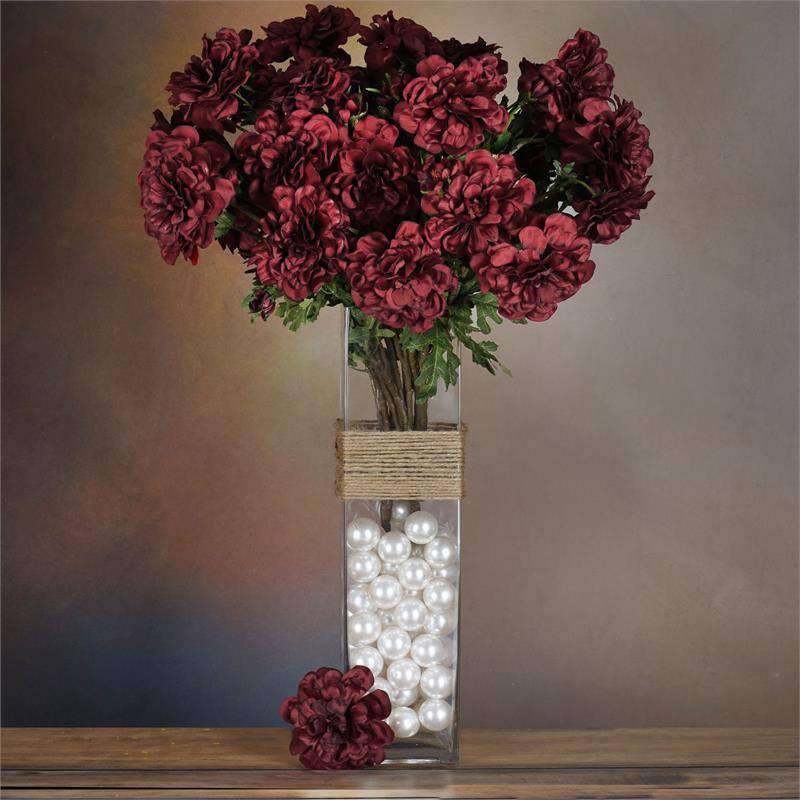 72 Artificial Zinnia Flowers Bridal Bouquet Wedding Vase Centerpiece Decor-Burgundy