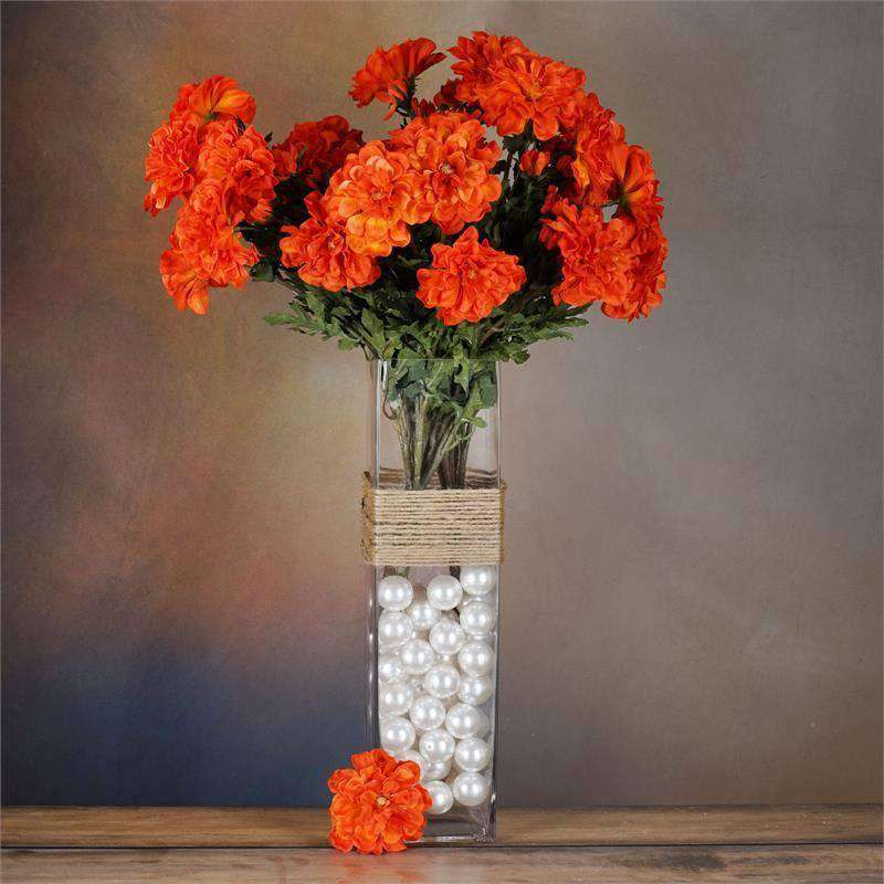 72 Artificial Zinnia Flowers Bridal Bouquet Wedding Vase Centerpiece Decor-Orange