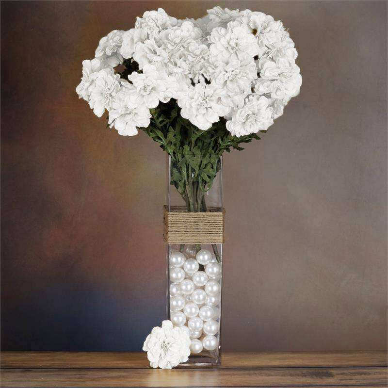4 Bush 72 Pcs White Artificial Zinnia Flowers Bridal Bouquet Wedding Vase Centerpiece Decoration