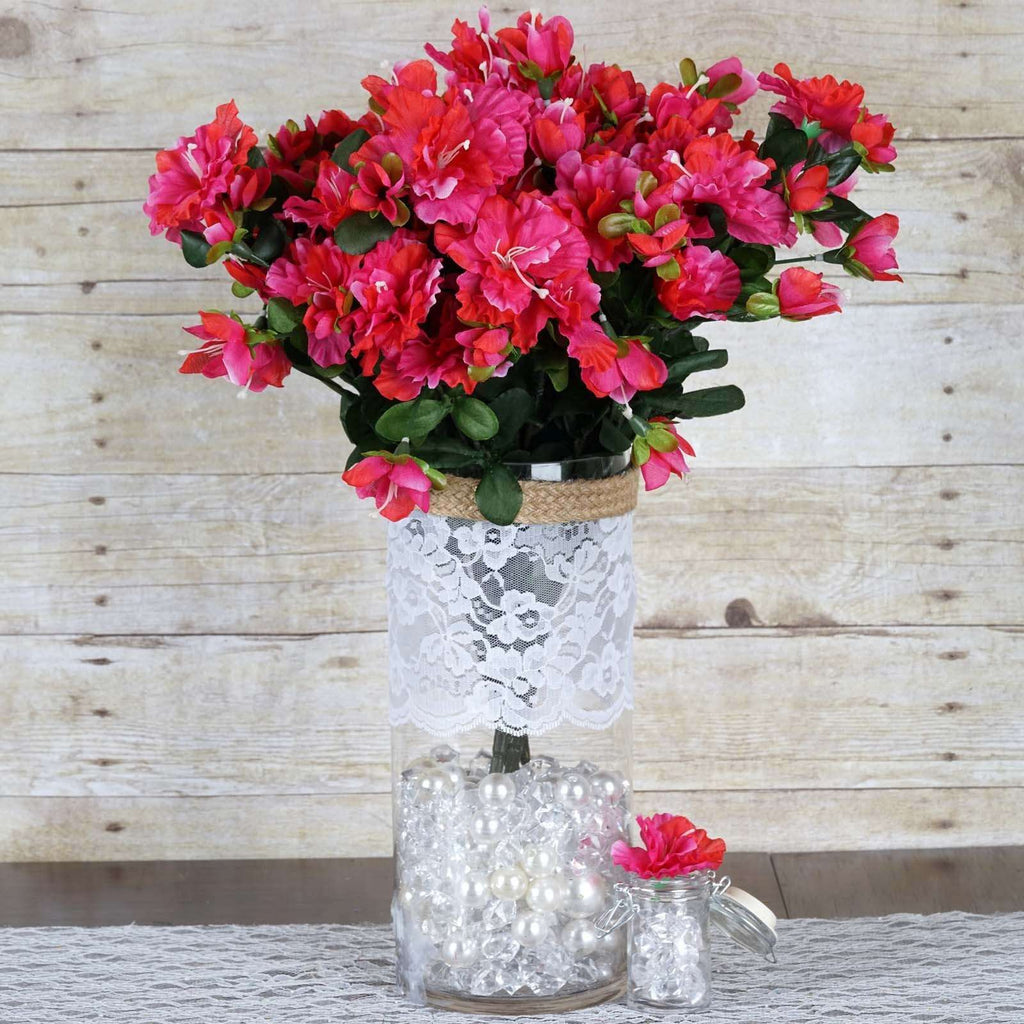 120 Wholesale Artificial Silk Gardenias Flowers Wedding Vase Centerpiece Decor - Fushia