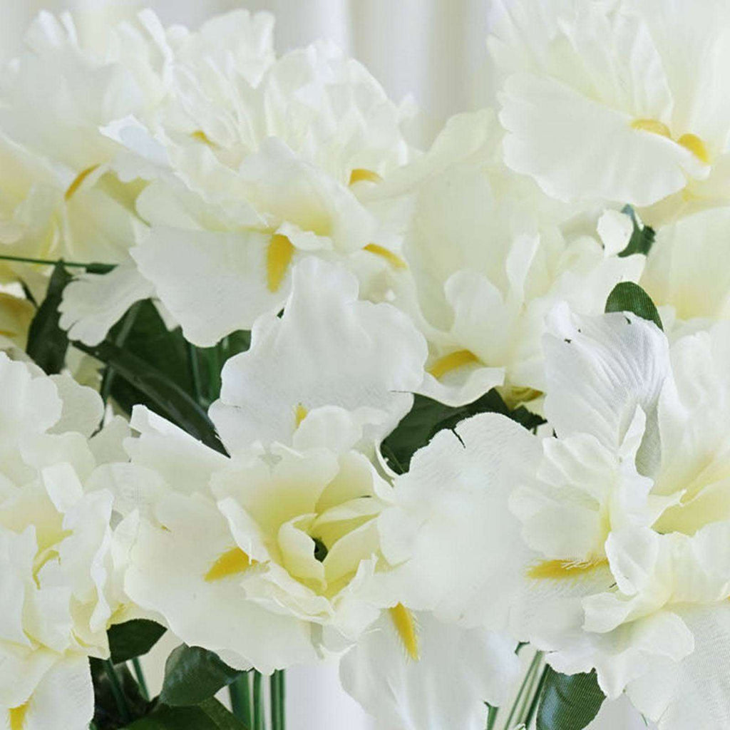60 Silk Iris Flowers - Cream