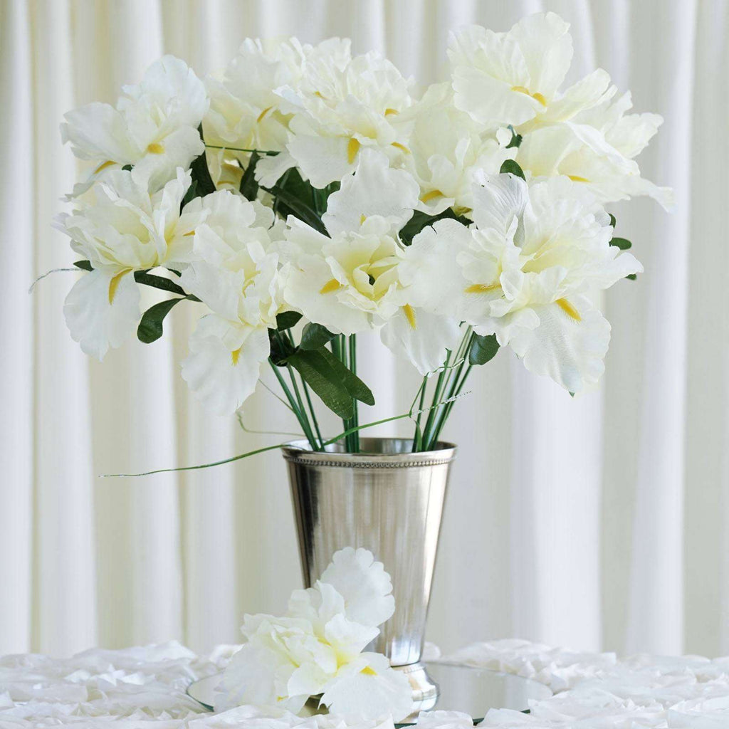 60 Artificial Silk Iris Flowers Wedding Vase Centerpiece Decor - Cream