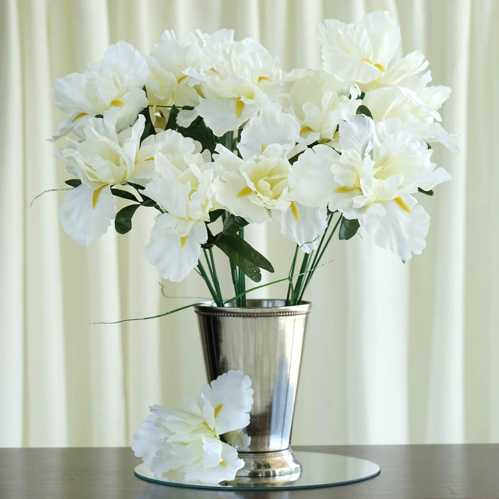 12 Bush 60 Pcs Cream Artificial Silk Iris Flowers Wedding Vase Centerpiece Decoration