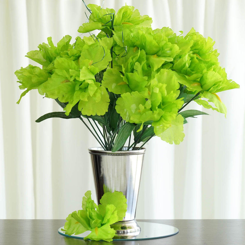 12 Bush 60 Pcs Lime Artificial Silk Iris Flowers Wedding Vase Centerpiece Decoration
