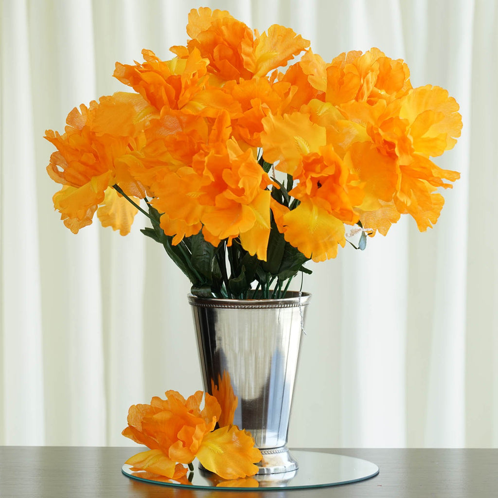 12 Bush 60 Pcs Orange Artificial Silk Iris Flowers Wedding Vase Centerpiece Decoration