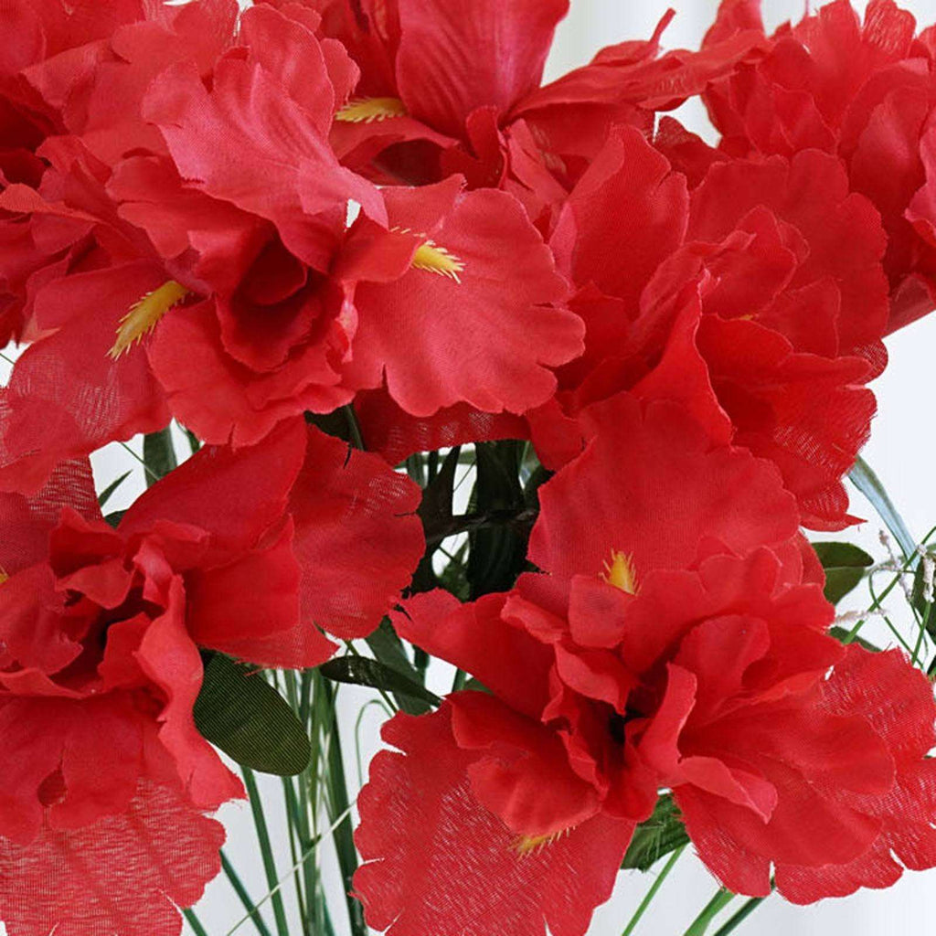 60 Silk Iris Flowers - Red