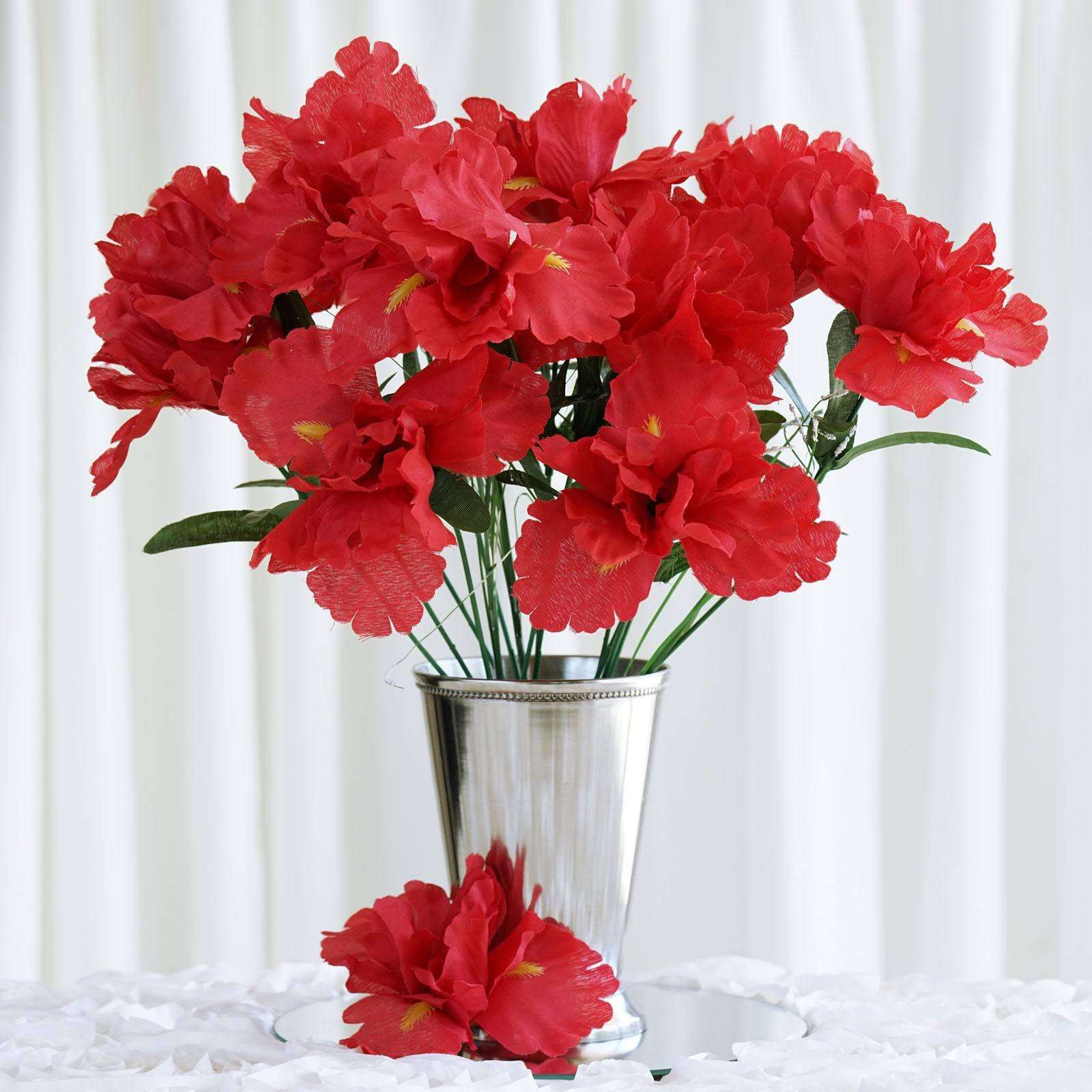 12 Bush 60 Pcs Red Artificial Silk Iris Flowers Wedding Vase