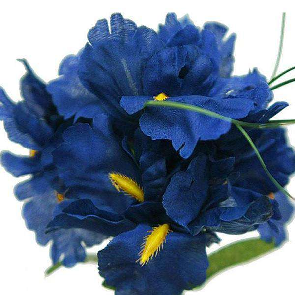 12 Bush 60 Pcs Royal Blue Artificial Silk Iris Flowers Wedding Vase Centerpiece Decoration