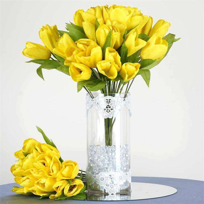 56 Artificial Tulip Flowers Wedding Vase Centerpiece Decor - Yellow