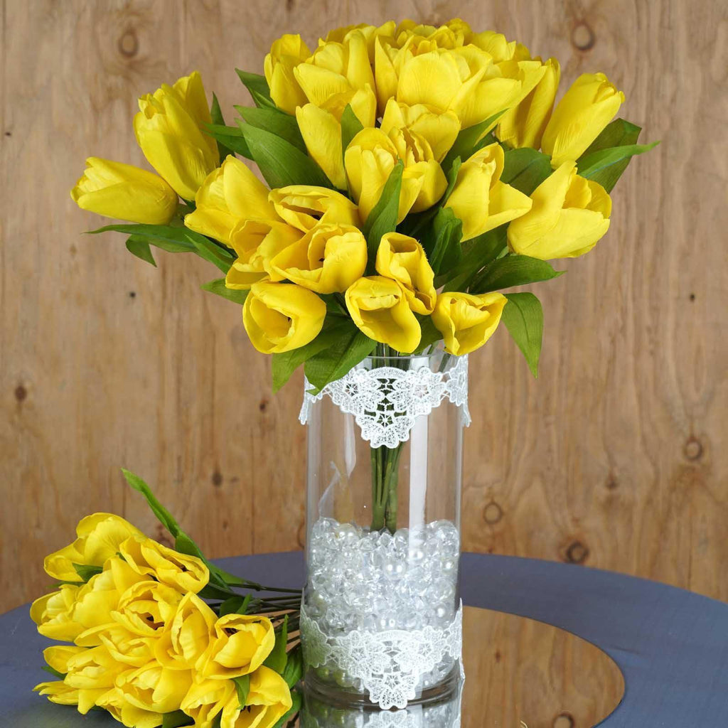 4 Bush 56 Pcs Yellow Artificial Silk Tulip Flowers Wedding Vase Centerpiece Decoration