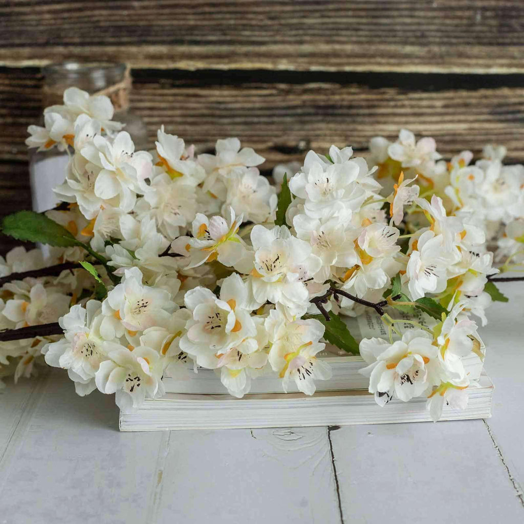 "10 Pack | 40"" Tall Cream Silk Artificial Flowers Cherry Blossoms Bushes Wedding Floral Arrangements"