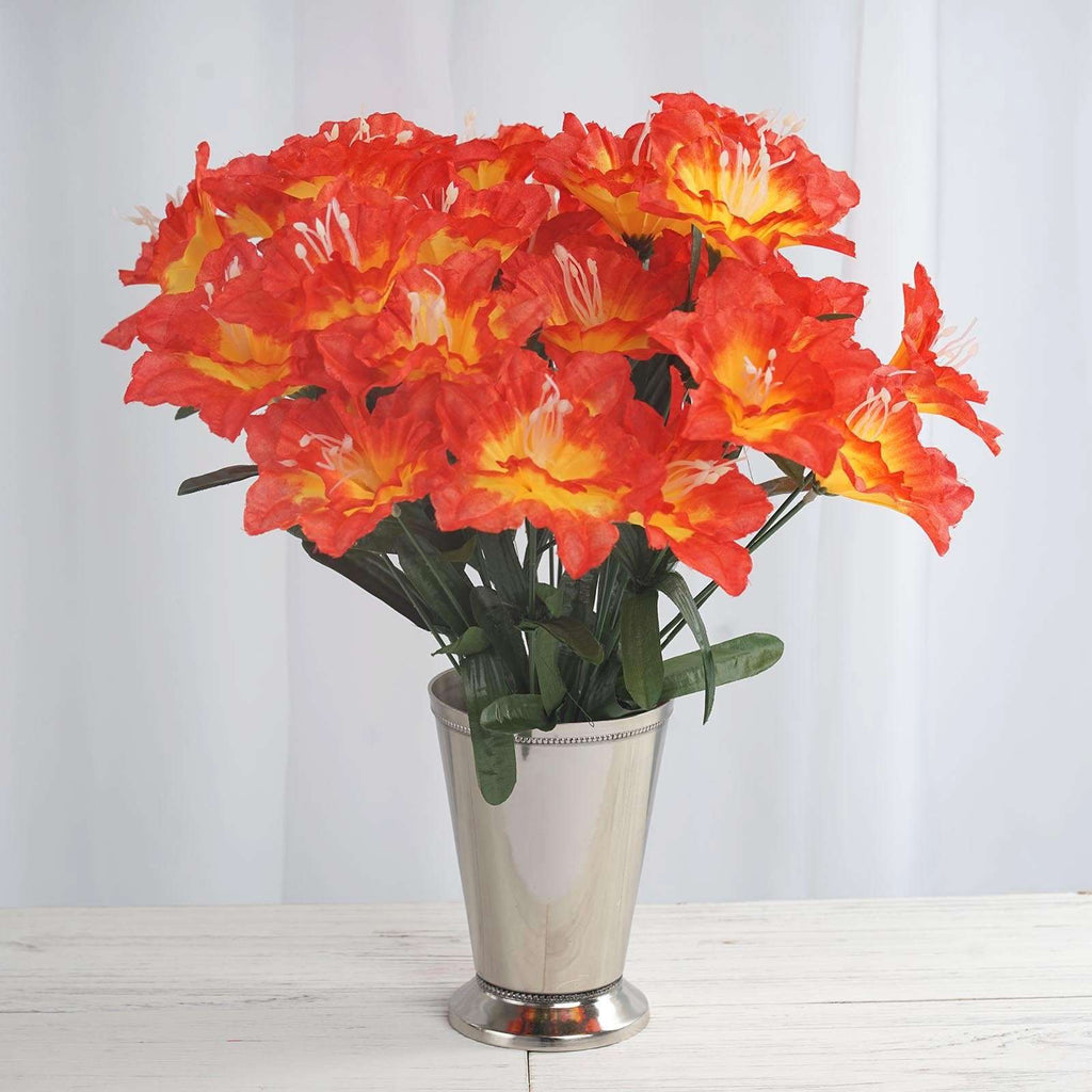 12 Bush 72 pcs Orange Artificial Silk Daffodil Flower Bridal Bouquet Wedding Decoration