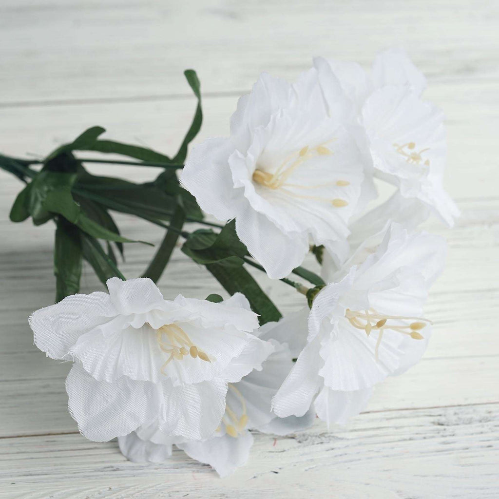 12 Bush 72 pcs White Artificial Silk Daffodil Flower Bridal Bouquet Wedding Decoration