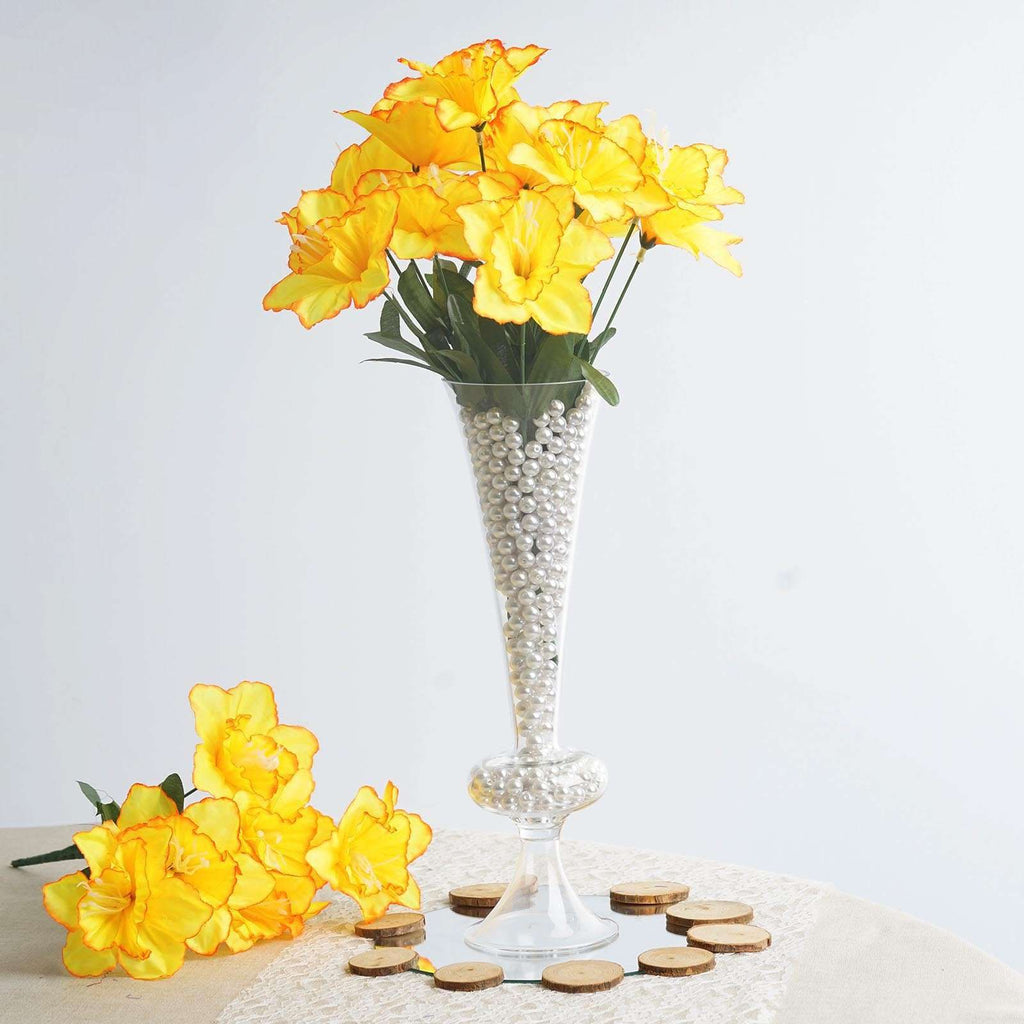 12 Bush 72 pcs Yellow Artificial Silk Daffodil Flower Bridal Bouquet Wedding Decoration