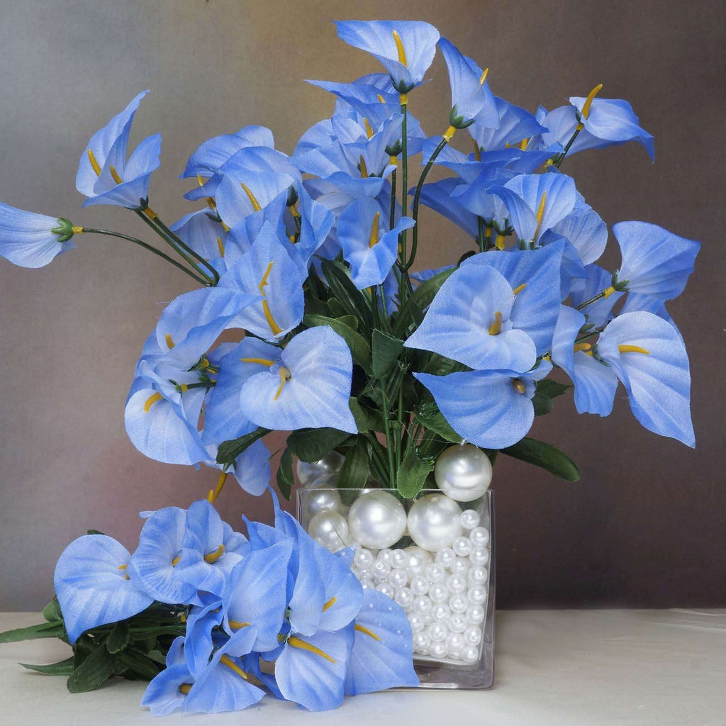 252 Wholesale Artificial Mini Calla Lilies Wedding Flower Vase Centerpiece Decor - Blue