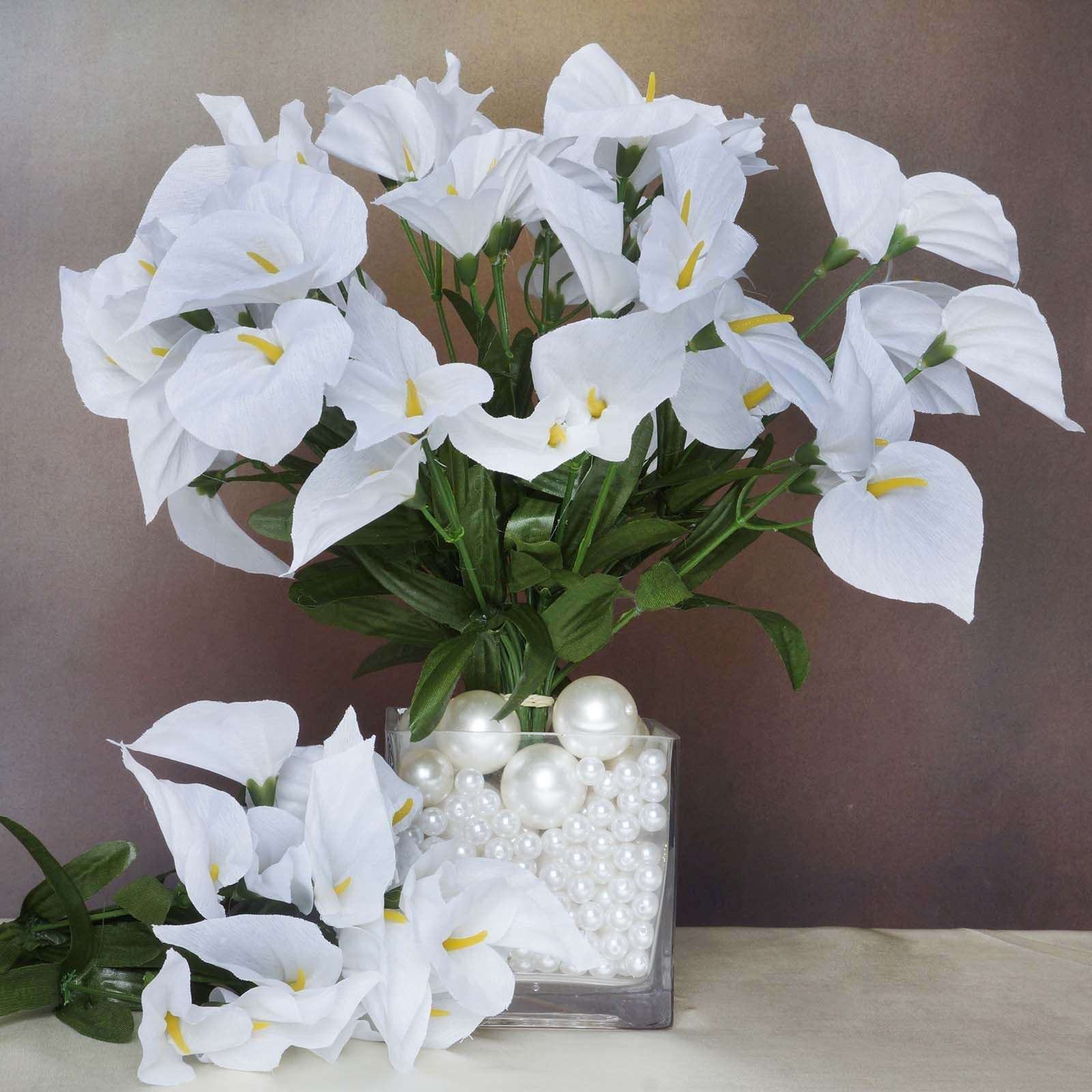 12 bush 252 pcs white artificial mini calla lilies flower wedding 252 wholesale artificial mini calla lilies wedding flower vase centerpiece decor white izmirmasajfo