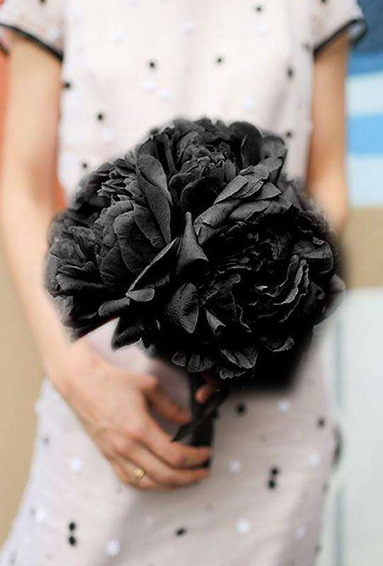 12 Bush 60 Pcs Black Artificial Silk Peony Flowers Bridal Bouquet Wedding Party Decoration