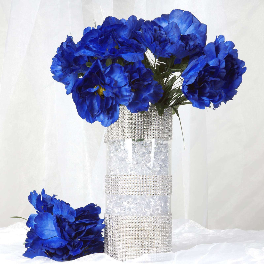 12 Bush 60 Pcs Royal Blue Artificial Silk Peony Flowers Bridal Bouquet Wedding Party Decoration