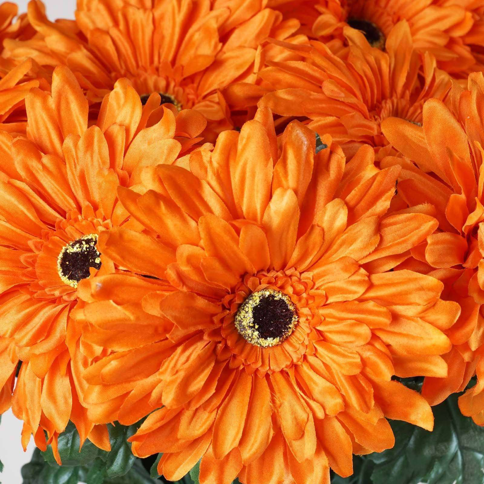 4 Bush 28 Pcs Orange Gerbera Daisy Artificial Flowers Wedding Vase