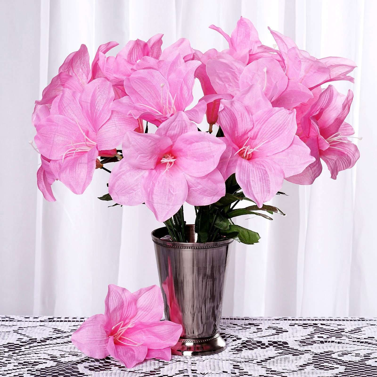 10 Bush 60 Pcs Pink Artificial Silk Eastern Lily Wedding Flowers