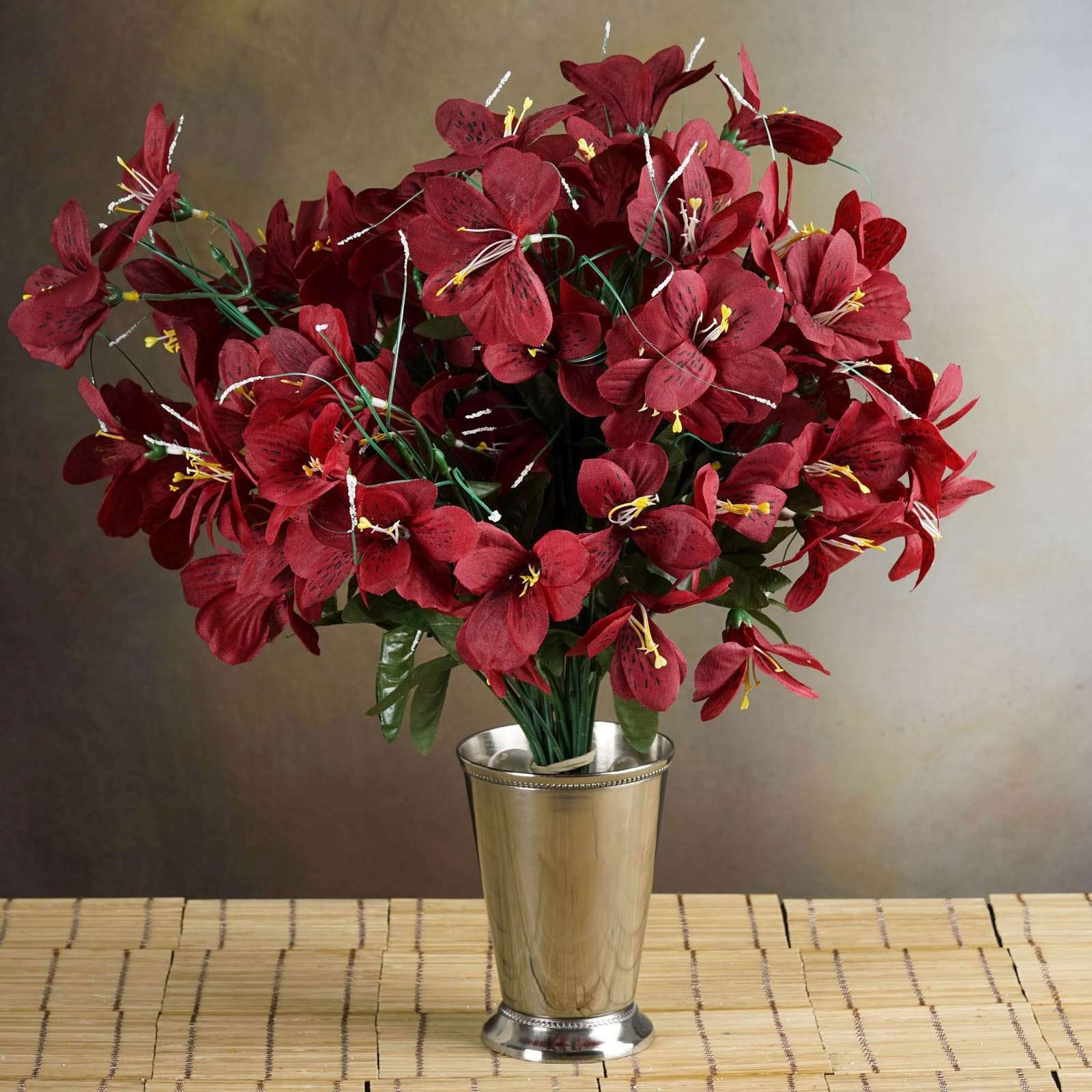 6 Bush 144 Pcs Burgundy Amaryllis Artificial Silk Flowers Wedding