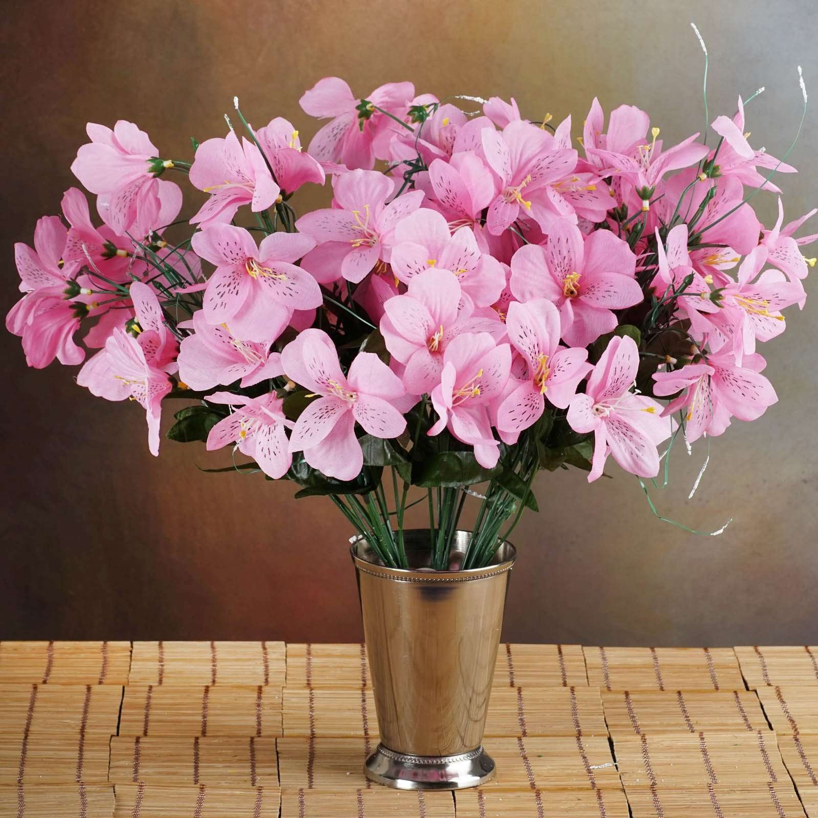 6 Bush 144 Pcs Pink Amaryllis Artificial Silk Flowers Wedding