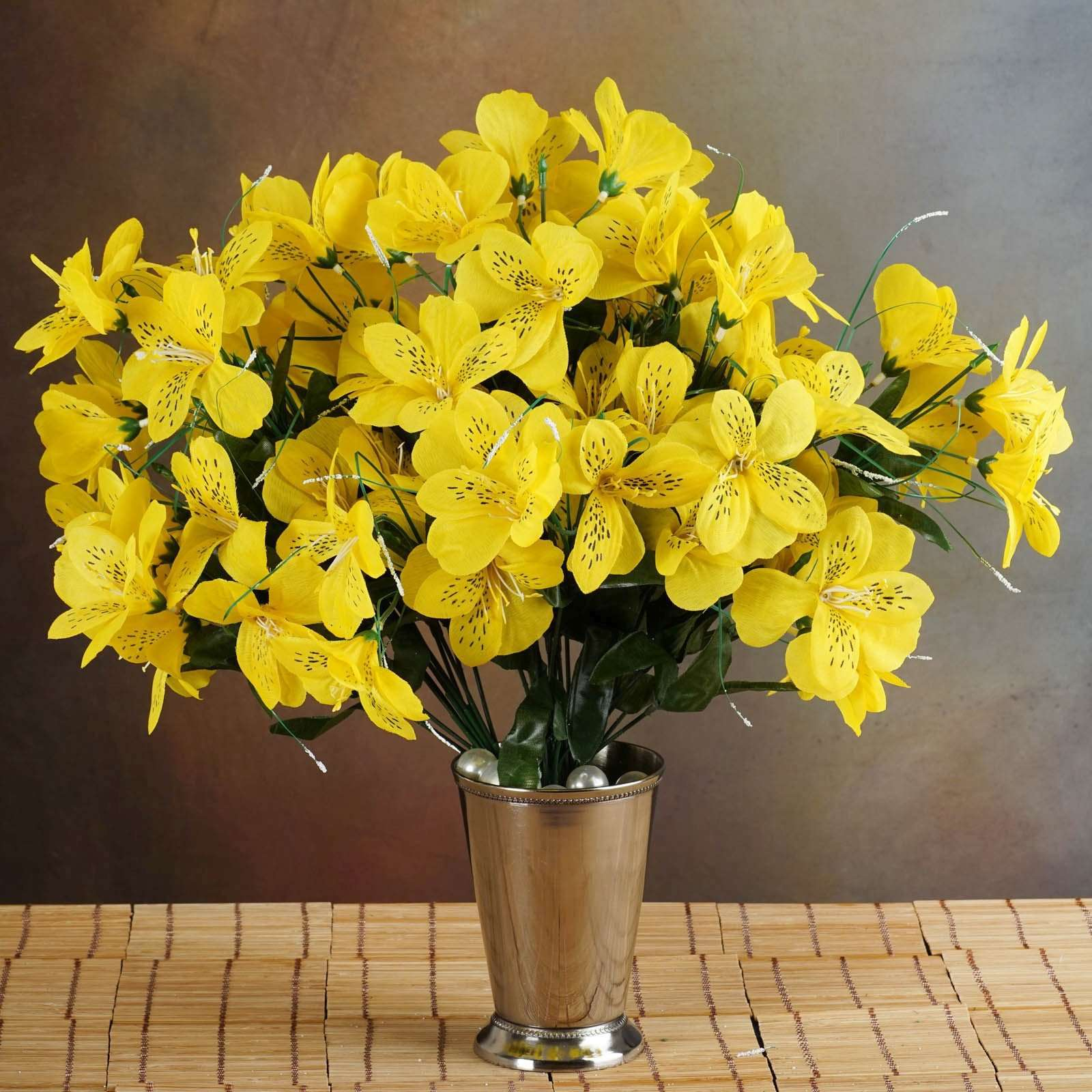 6 Bush 144 Pcs Yellow Amaryllis Artificial Silk Flowers Wedding