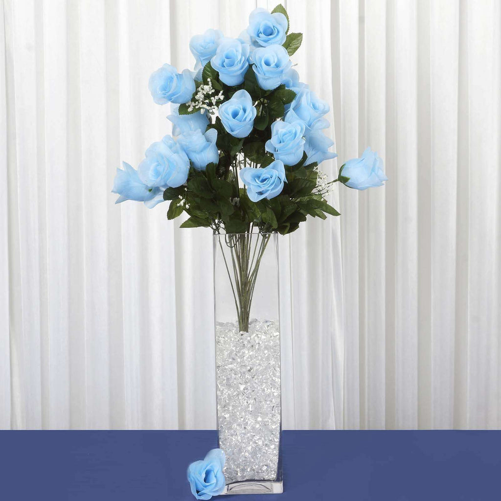 96 Wholesale Artificial Giant Rose Bud Wedding Bouquet Vase Centerpiece Decor - Light Blue