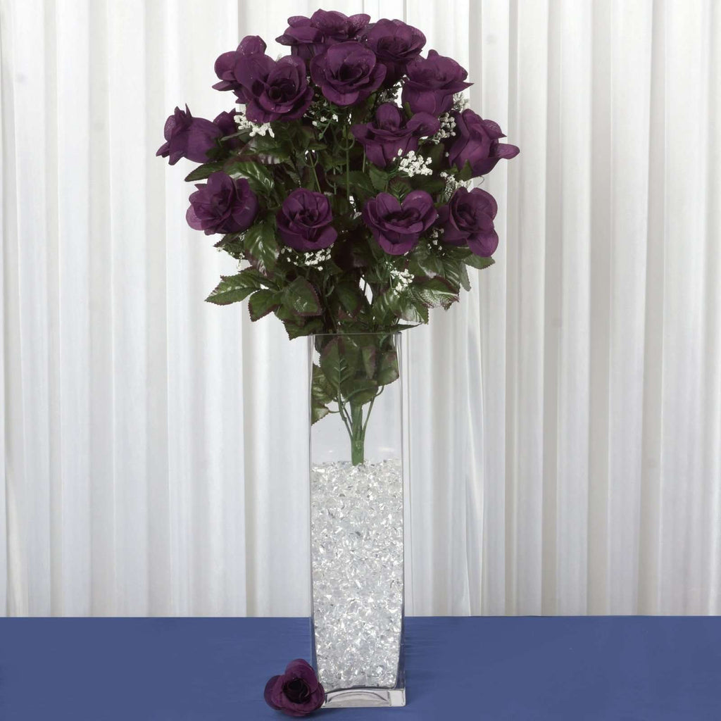 96 Wholesale Artificial Giant Rose Bud Wedding Bouquet Vase Centerpiece Decor - Eggplant