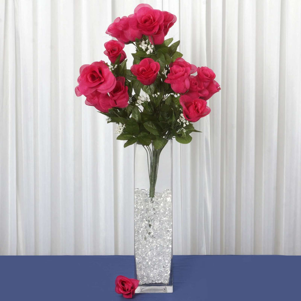 96 Wholesale Artificial Giant Rose Bud Wedding Bouquet Vase Centerpiece Decor - Fushia