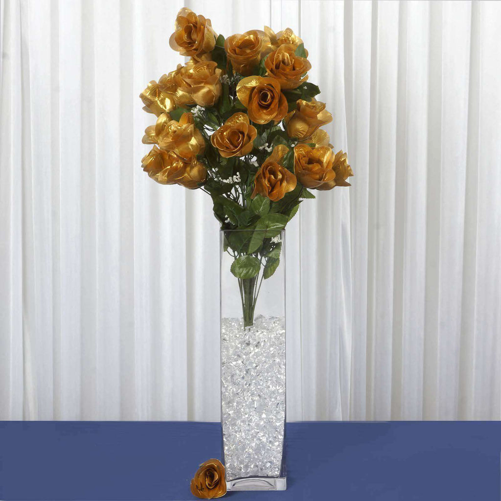 4 Bush Gold 96 Large Rose Buds Real Touch Artificial Silk Flowers