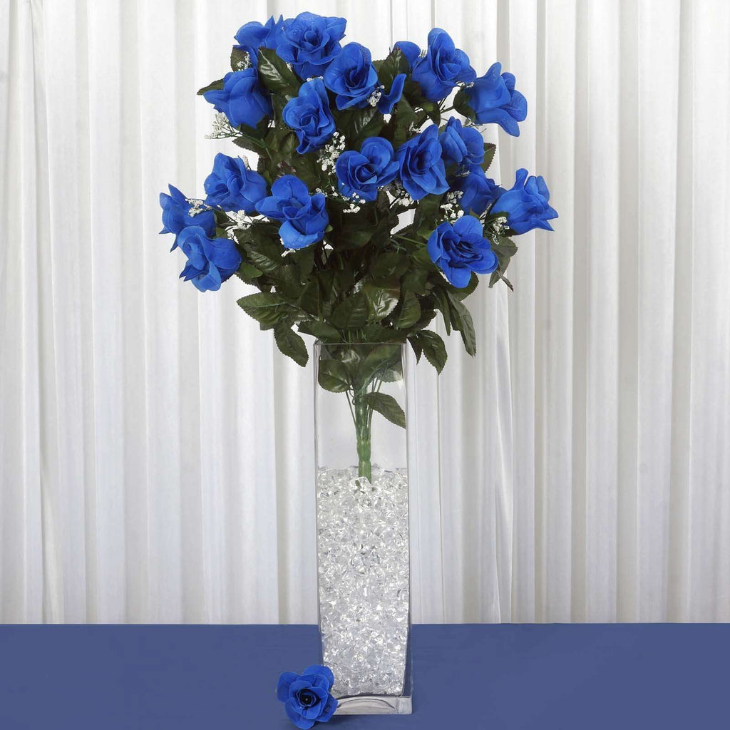 96 Wholesale Artificial Giant Rose Bud Wedding Bouquet Vase Centerpiece Decor - Royal Blue
