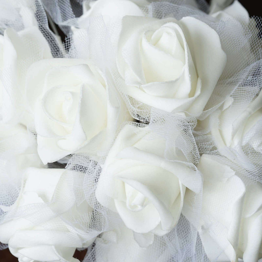 24 Handcrafted Silk Open Roses Bridal Bouquet Wedding Vase Centerpiece Décor - White
