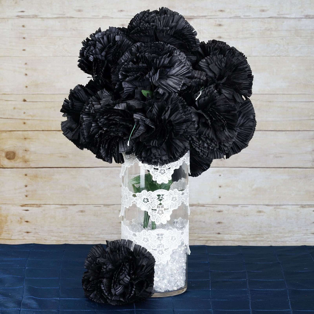 36 Giant Artificial Carnation Flowers Wedding Vase Centerpiece Decor  - Black