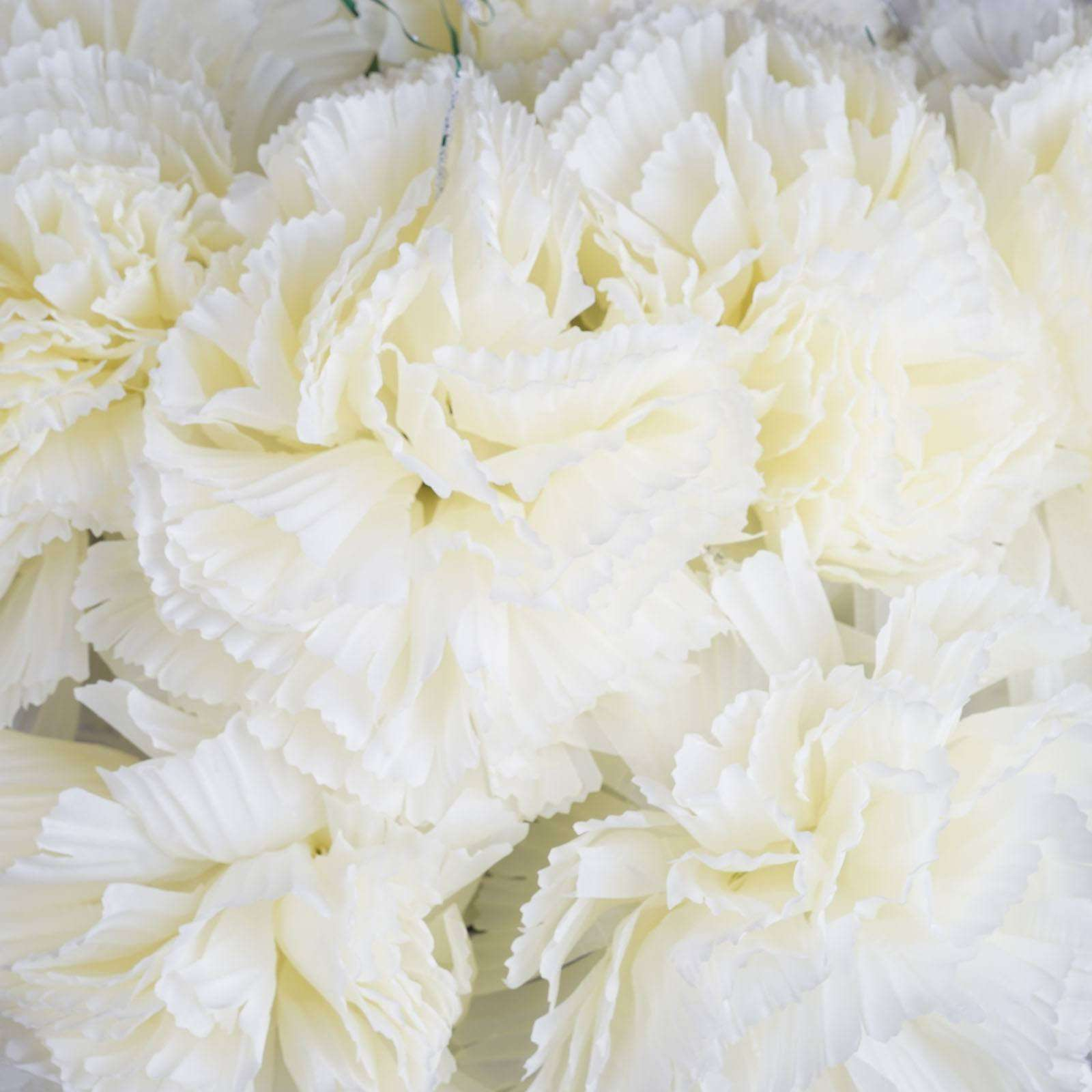 36 Giant Artificial Carnation Flowers Cream Chaircoverfactory