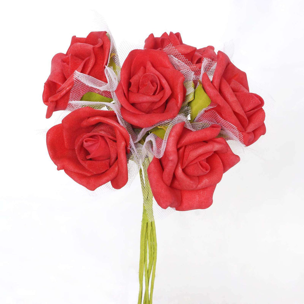 12 Pack 72 pcs Red Artificial Foam Rose Flowers Wedding Bridal Bouquet