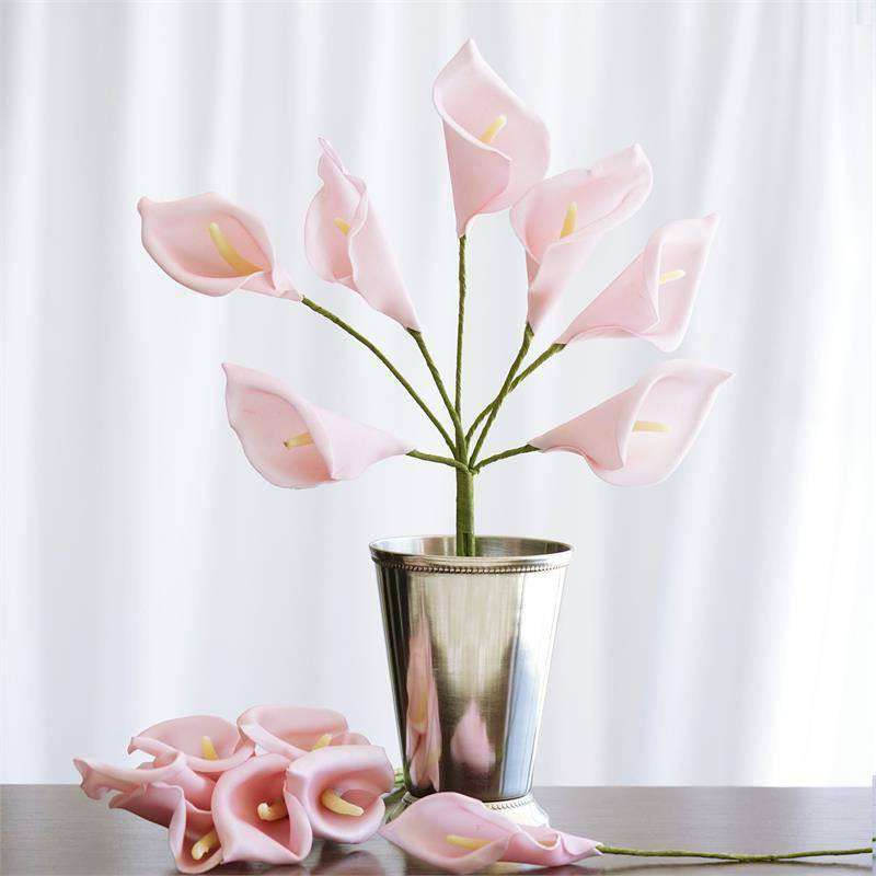 6 Bush 42 Pcs Pink Artificial Calla Lilies Flowers Wedding Vase Center Chaircoverfactory