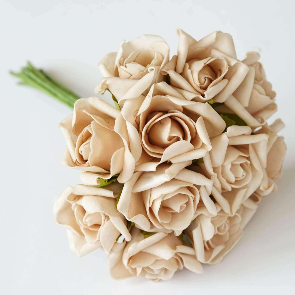 72 Artificial Silk Roses Bouquet Wedding Vase Centerpiece Decor - Natural