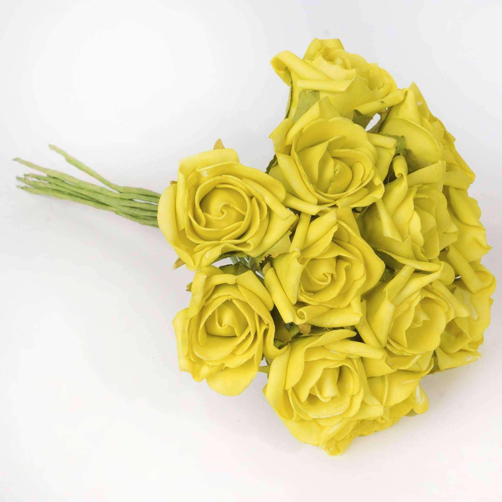 6 Pack 72 Pcs Yellow Artificial Foam Rose Flowers Bridal Bouquet